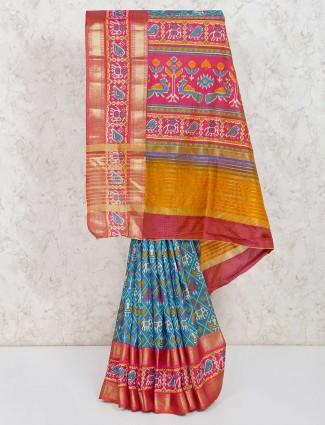 Patola printed cotton silk sky blue sarie