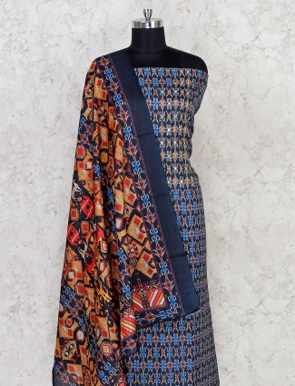 Patola printed navy dress material in cotton
