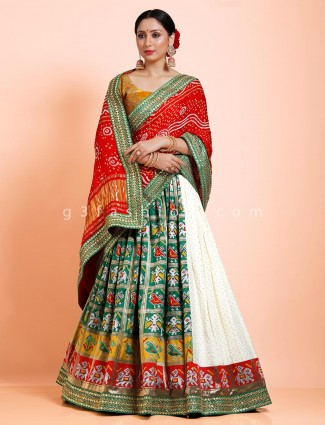 Patola silk designer green and white half n half semi stitched lehenga choli