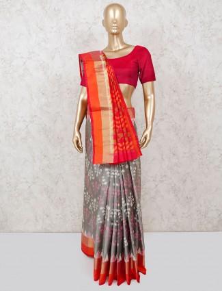 Patola silk grey saree for reception