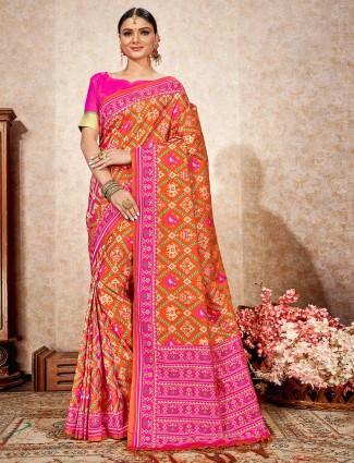 Patola silk orange designer saree