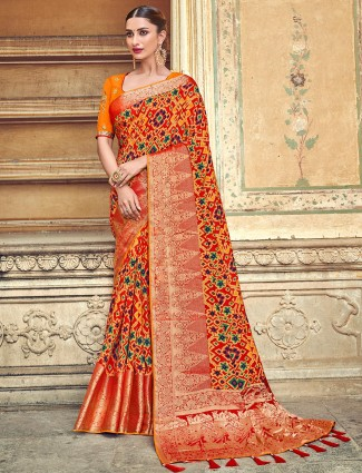 Patola silk printed orange saree