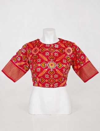 Patola silk readymade blouse for weddings in red