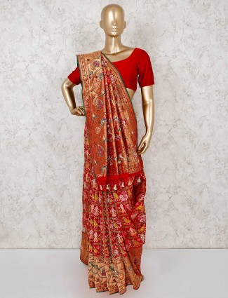 Patola silk red wedding wear saree