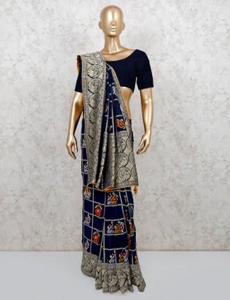 Patola silk royal blue wedding and festive wear saree