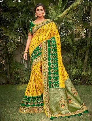 Patola silk saree in yellow for wedding