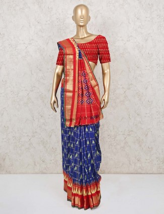 Patola silk wedding saree in blue and red