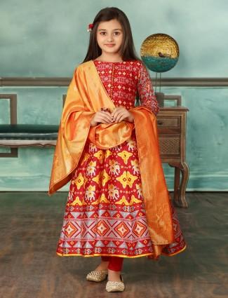 Patola silk wedding wear red anarkali suit