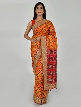 Patola silk yellow saree for wedding occasion