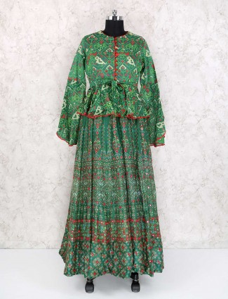 Patola style designer green color cotton silk salwar suit