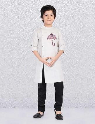 Party wear off white kurta suit