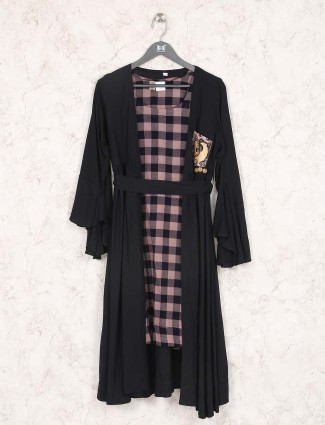 Peach ana black checks pattern simple kurti
