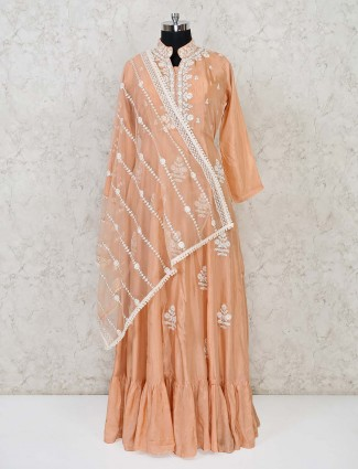 Peach anarkali floor length cotton silk suit