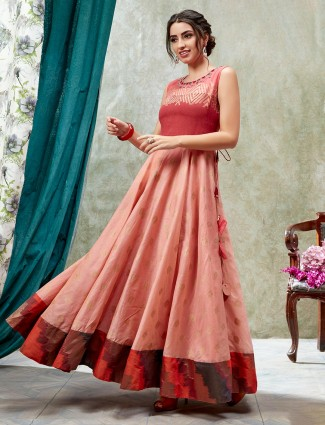 Peach anarkali kurti in cotton silk
