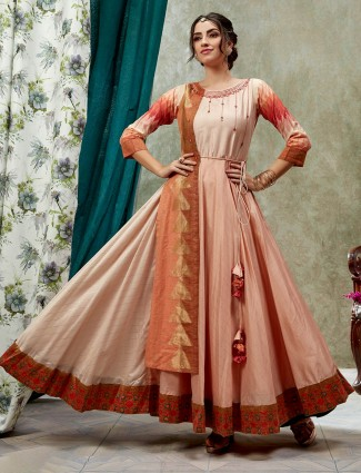 Peach and beige cotton silk anarkali classic kurti