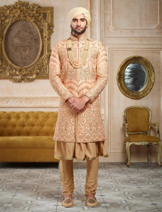 Peach and beige designer sherwani
