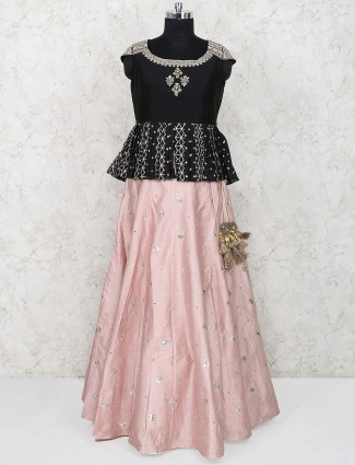 Peach and black peplum style lehenga choli in raw silk