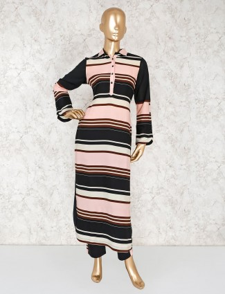 Peach and black striped salwar suit in cotton silk