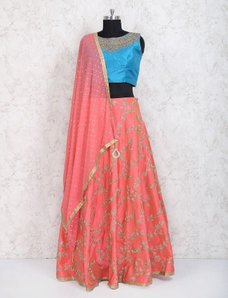 Peach and blue party wear raw silk lehenga choli