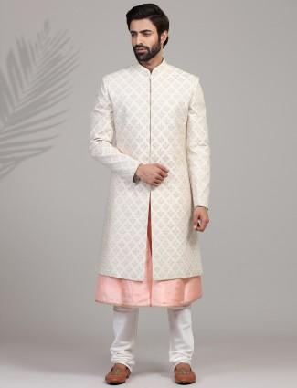 Peach and cream silk sherwani set