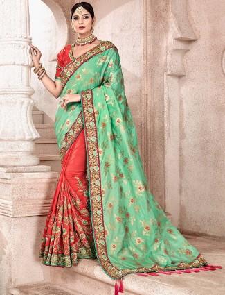 Peach and green half and half colored semi silk saree