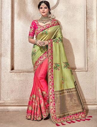 Peach and green half and half semi silk pretty saree