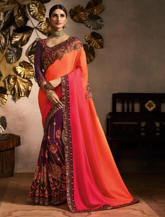 Peach and maroon embroidered half and half saree