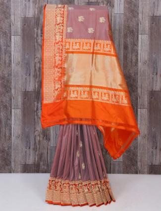 Peach and orange color silk fabric saree