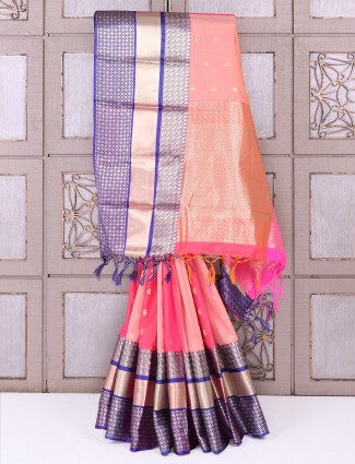 Peach and purple semi silk saree