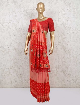 Peach and red  silk saree for wedd ing and reception