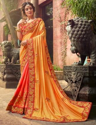 Peach and yellow raw silk half and half saree
