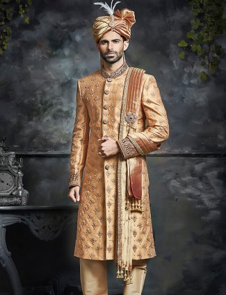 Peach attractive sherwani in silk fabric