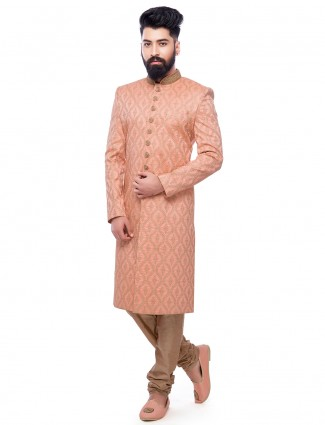 Peach attractive silk wedding wear sherwani