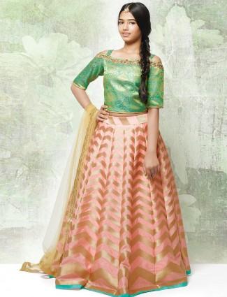 Peach awesome wedding wear silk lehenga choli