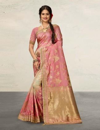 Peach banarasi silk saree with matching pallu