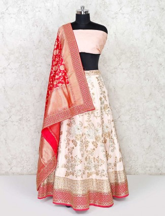 Peach banarasi silk semi stitched lehenga for wedding