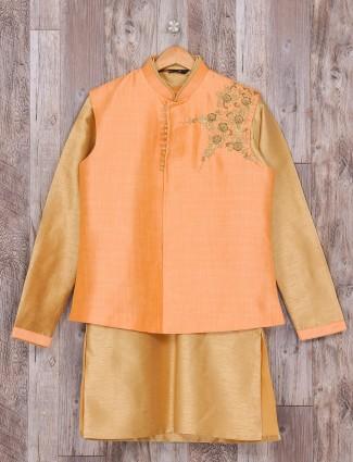 Peach beige raw silk waistcoat set