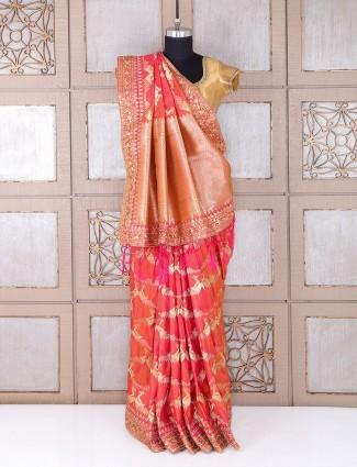Peach classy wedding wear saree