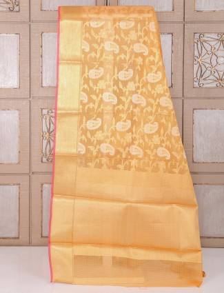 Peach color alluring cotton saree