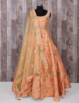 Peach color brocade fabric anarkali suit