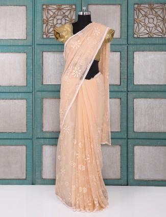 Peach color chiffon fabric saree