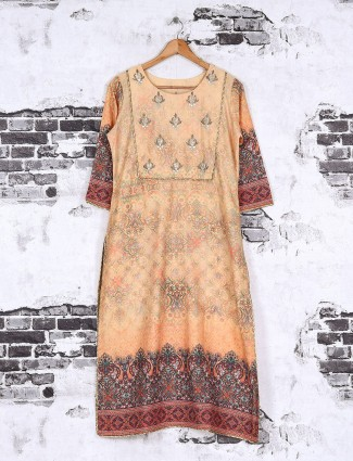 Peach color cotton fabric printed kurti