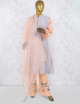 Peach color cotton festive punjabi salwar suit