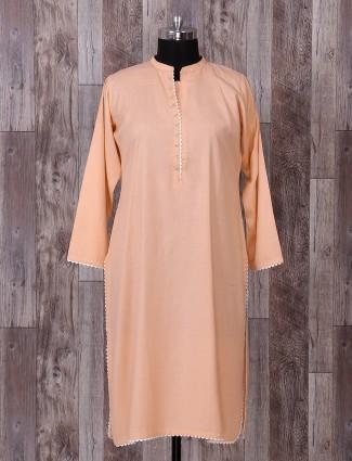Peach color cotton palazzo suit