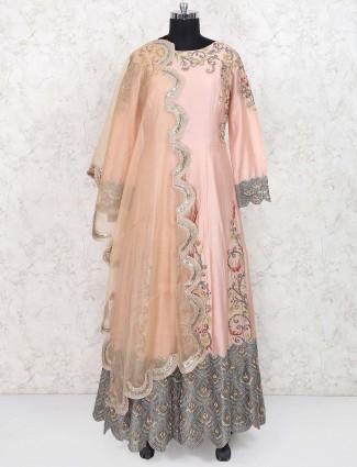 Peach color cotton silk anarkali suit
