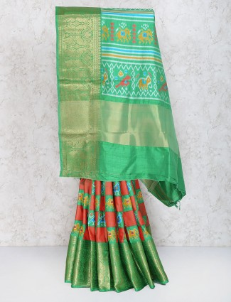 Peach color cotton silk fabric festive saree