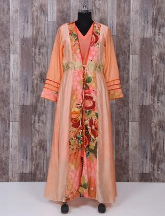Peach color cotton silk fabric palazzo suit