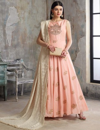 Peach color cotton silk floor length anarkali salwar suit