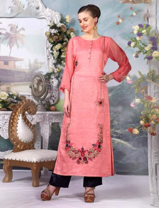 Peach color cotton silk kurti