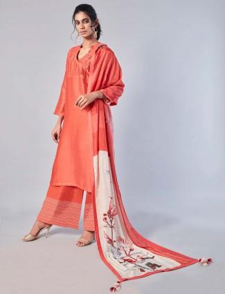 Peach color cotton silk palazzo suit for festive wear